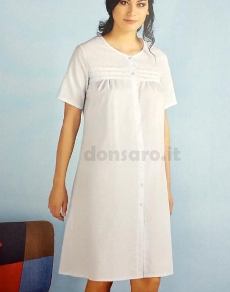 consegna gratuita comprare nuovo brillantezza del colore Camicia da notte aperta davanti mezza manica cotone, VILFRAM 10730